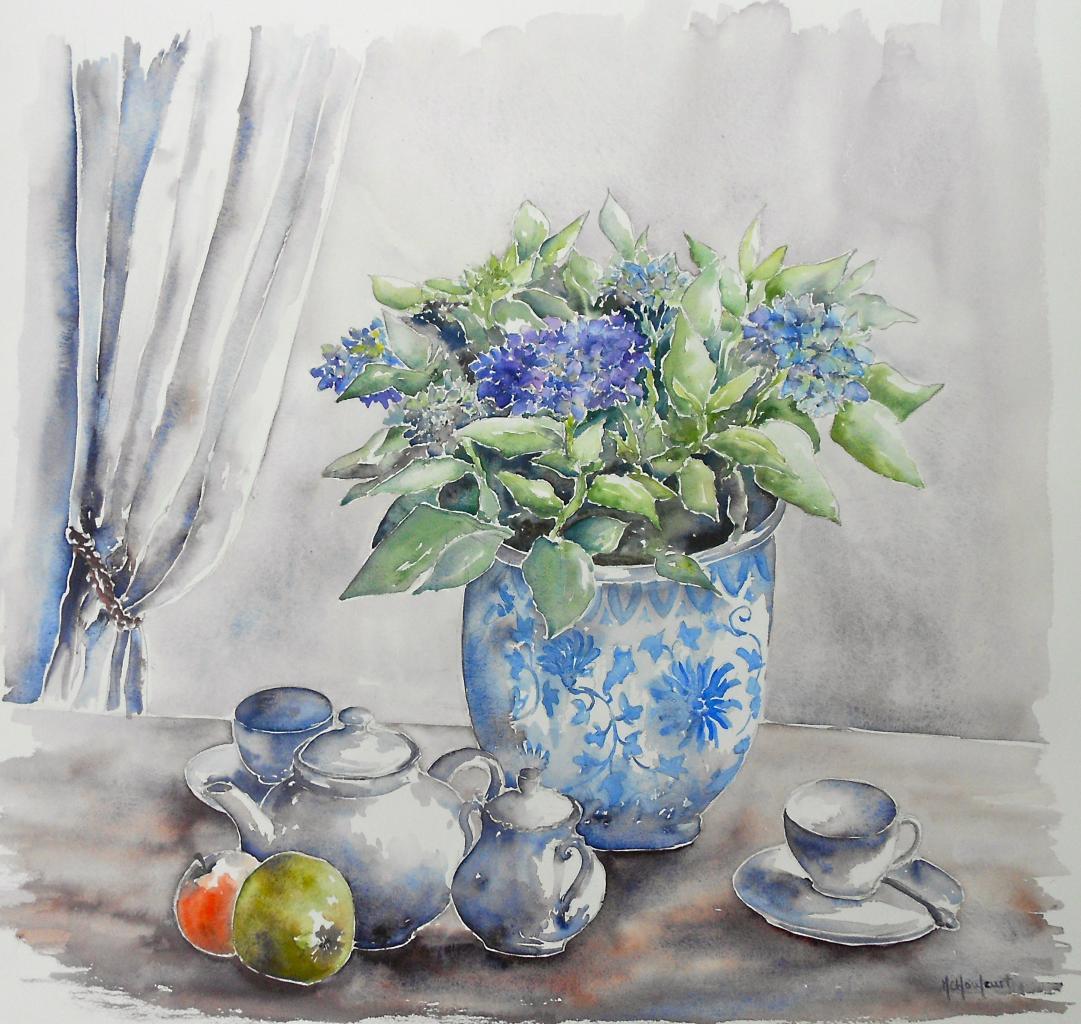 Hortensia et porcelaines blanches