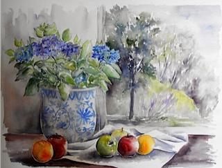 Hortensia et fruits d'automne