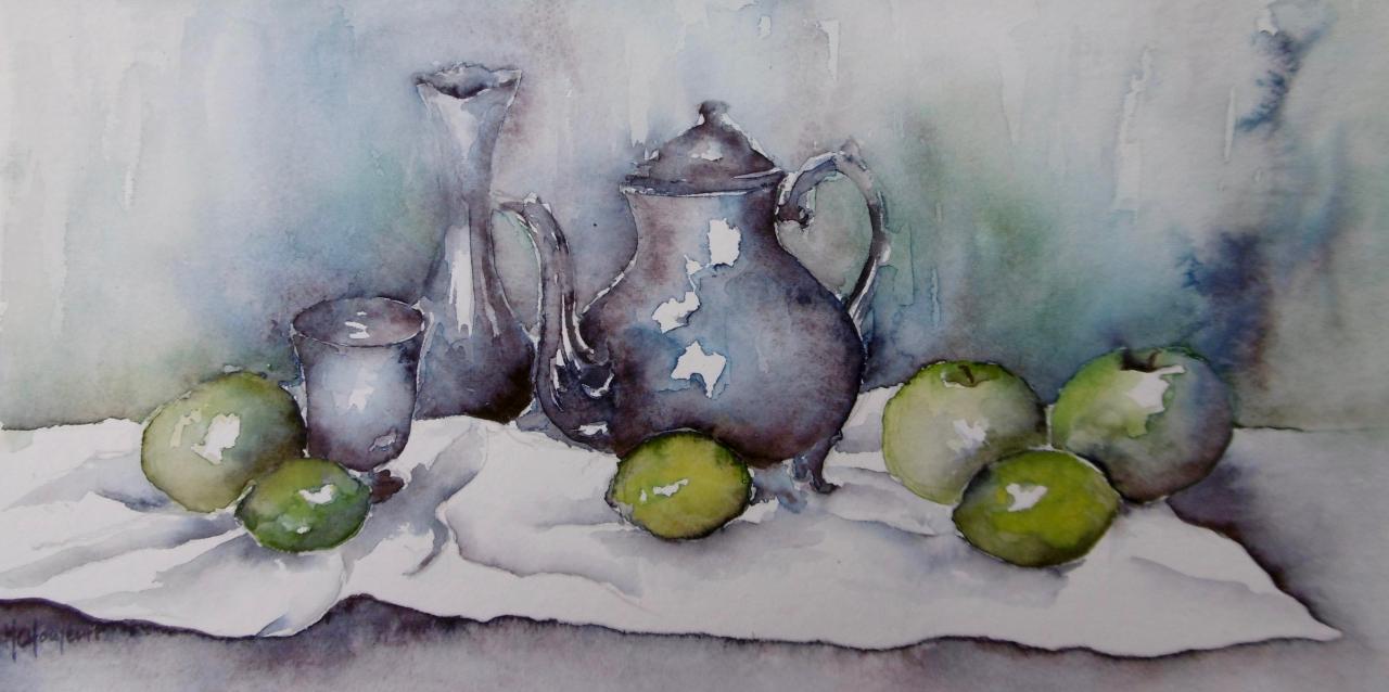 Etains, pommes et citrons verts